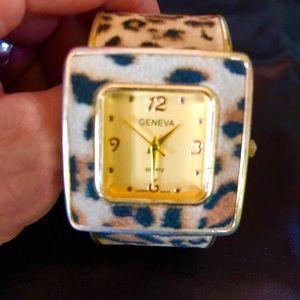 Leopard, Animal Print & Gold Cuff Bracelet Watch